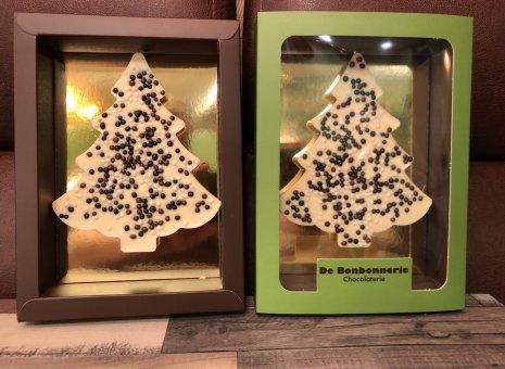 Chocolade kerstboompje wit crunchy