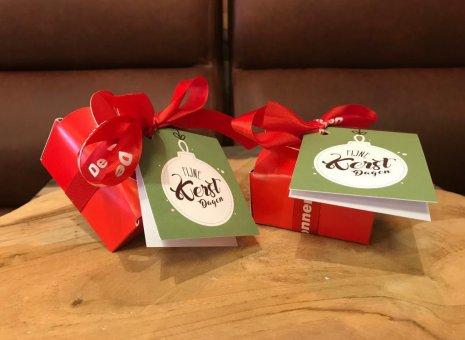 Kerst doosje 2 bonbons rood