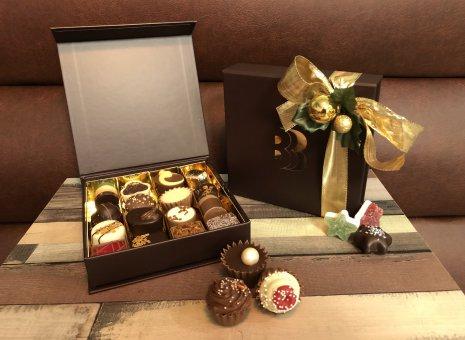 Luxe bonbonbox kerst goud