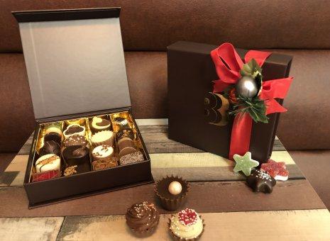 Luxe bonbonbox kerst rood